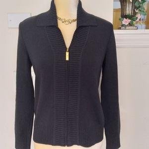 St John collection zip-up santana knit sweater S